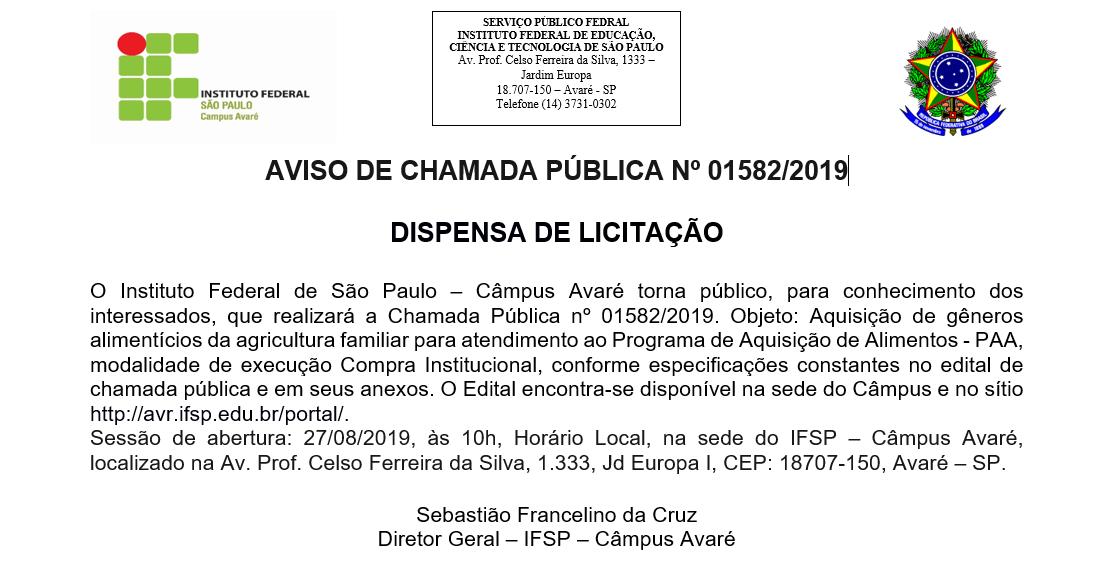 AVISO DE CHAMADA PÚBLICA Nº 01582/2019