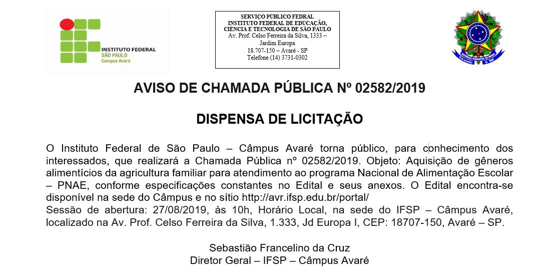 AVISO DE CHAMADA PÚBLICA Nº 02582/2019